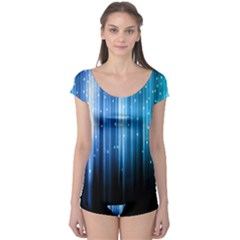 Blue Abstract Vectical Lines Boyleg Leotard