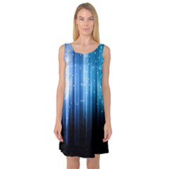 Blue Abstract Vectical Lines Sleeveless Satin Nightdress