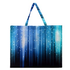 Blue Abstract Vectical Lines Zipper Large Tote Bag