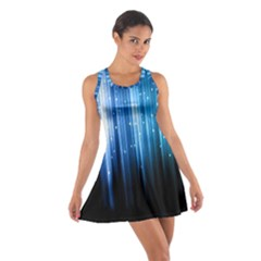 Blue Abstract Vectical Lines Cotton Racerback Dress