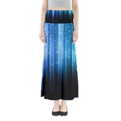 Blue Abstract Vectical Lines Full Length Maxi Skirt
