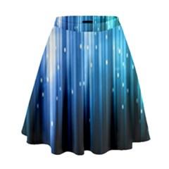 Blue Abstract Vectical Lines High Waist Skirt