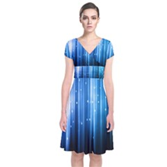 Blue Abstract Vectical Lines Short Sleeve Front Wrap Dress