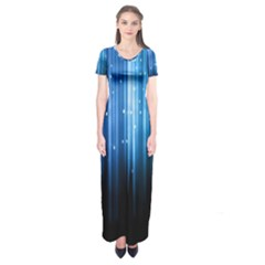 Blue Abstract Vectical Lines Short Sleeve Maxi Dress