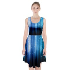 Blue Abstract Vectical Lines Racerback Midi Dress