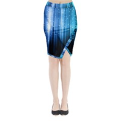 Blue Abstract Vectical Lines Midi Wrap Pencil Skirt