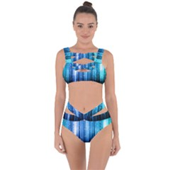 Blue Abstract Vectical Lines Bandaged Up Bikini Set