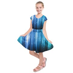 Blue Abstract Vectical Lines Kids  Short Sleeve Dress