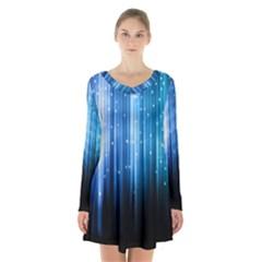 Blue Abstract Vectical Lines Long Sleeve Velvet V Neck Dress