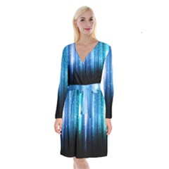 Blue Abstract Vectical Lines Long Sleeve Velvet Front Wrap Dress