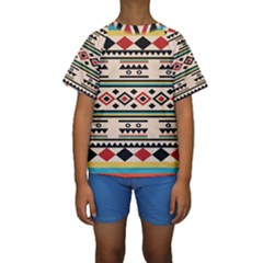 Tribal Pattern Kids  Short Sleeve Swimwear
