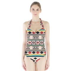 Tribal Pattern Halter Swimsuit