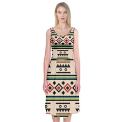 Tribal Pattern Midi Sleeveless Dress