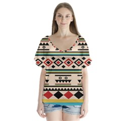 Tribal Pattern Flutter Sleeve Top