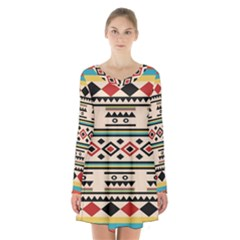 Tribal Pattern Long Sleeve Velvet V Neck Dress