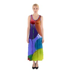 Colorful Balloons Render Sleeveless Maxi Dress