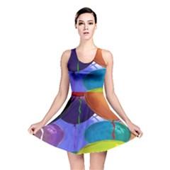 Colorful Balloons Render Reversible Skater Dress