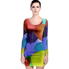 Colorful Balloons Render Long Sleeve Bodycon Dress