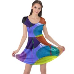 Colorful Balloons Render Cap Sleeve Dresses