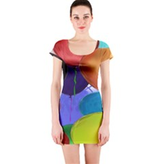 Colorful Balloons Render Short Sleeve Bodycon Dress