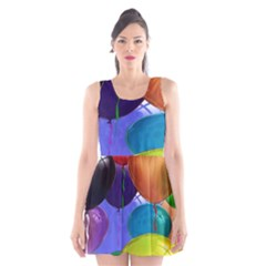 Colorful Balloons Render Scoop Neck Skater Dress