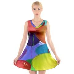 Colorful Balloons Render V Neck Sleeveless Skater Dress
