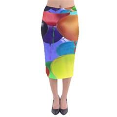 Colorful Balloons Render Velvet Midi Pencil Skirt