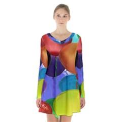 Colorful Balloons Render Long Sleeve Velvet V Neck Dress