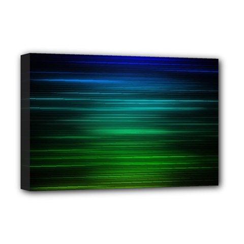 Blue And Green Lines Deluxe Canvas 18  x 12