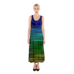 Blue And Green Lines Sleeveless Maxi Dress