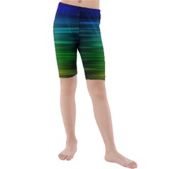 Blue And Green Lines Kids  Mid Length Swim Shorts