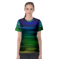 Blue And Green Lines Women s Sport Mesh Tee