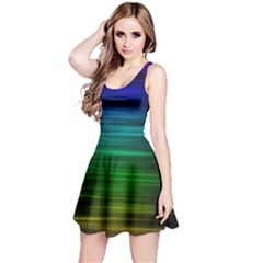 Blue And Green Lines Reversible Sleeveless Dress