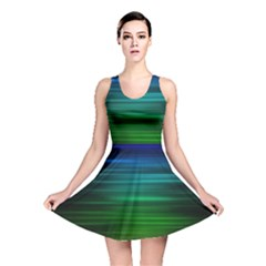 Blue And Green Lines Reversible Skater Dress