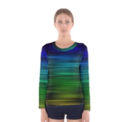 Blue And Green Lines Women s Long Sleeve Tee