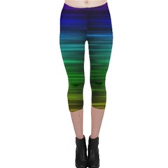 Blue And Green Lines Capri Leggings