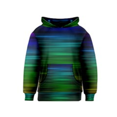 Blue And Green Lines Kids  Pullover Hoodie