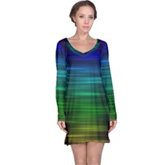 Blue And Green Lines Long Sleeve Nightdress