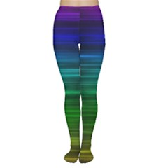 Blue And Green Lines Women s Tights