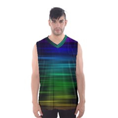 Blue And Green Lines Men s Basketball Tank Top