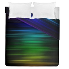 Blue And Green Lines Duvet Cover Double Side (queen Size)