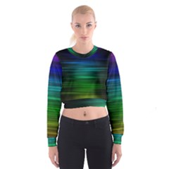 Blue And Green Lines Cropped Sweatshirt