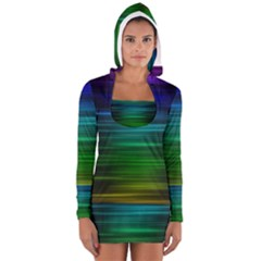 Blue And Green Lines Women s Long Sleeve Hooded T Shirt
