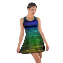 Blue And Green Lines Cotton Racerback Dress