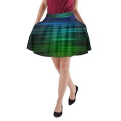 Blue And Green Lines A-Line Pocket Skirt