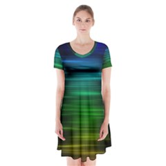 Blue And Green Lines Short Sleeve V Neck Flare Dress