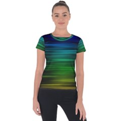 Blue And Green Lines Short Sleeve Sports Top