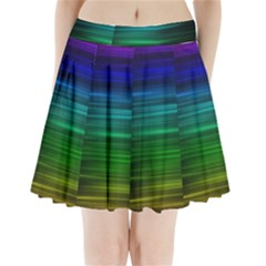 Blue And Green Lines Pleated Mini Skirt