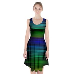 Blue And Green Lines Racerback Midi Dress