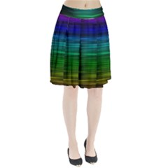 Blue And Green Lines Pleated Skirt